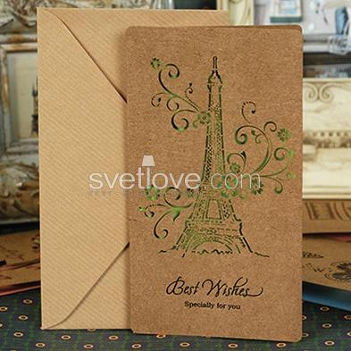"ОТКРЫТКА ""BEST WISHES"" EIFFEL TOWER"
