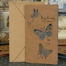 "ОТКРЫТКА ""HAPPY BIRTHDAY"" BLUE BUTTERFLY"